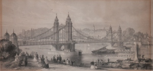 The Suspension Bridge  at Chelsea by T A Prior @ 1852