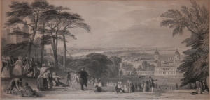 London from Greenwich Park etching by Thomas Abiel Prior @ 1852