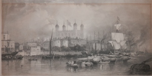 The Tower of London etching by Thomas Abiel Prior after Edward Duncan @ 1851