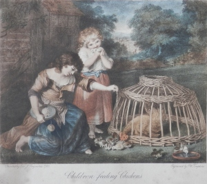 Children feeding Chickens by PW Tompkins after Sir Joshua Reynolds 1780