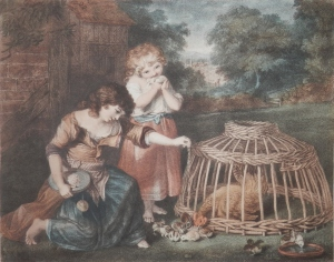 Children Feeding Chickens engraving by P W Tompkins after Sir Joshua Reynolds @ 1780