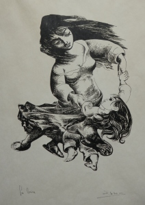 La Brisa woodcut by Pedro Lobos