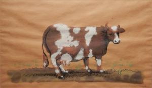 Cow #4 watercolour by Milton Glaser