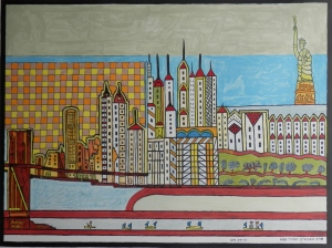 New York by Day lithograph by Shalom Moskovitz @ 1980's