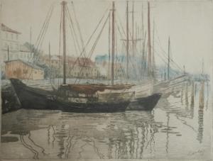 Fischerhafen etching by Karl Hachez @ 1910