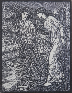 Syrinx and Psyche  woodcut by William Morris @ 1860