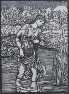Psyche fording the River woodcut by William Morris @ 1860