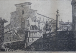 Veduta di fianco del Campidoglio Romano by Luigi Rossini @1817
