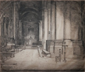 Embrun Cathedral etching by Edward Millington Synge @ 1901