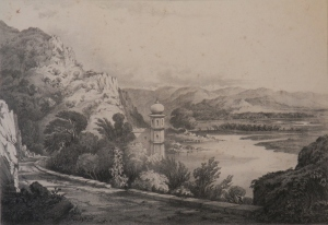 The Ganges Above Haridwar lithograph by Schenck and McFarlane after Capt. R Maclagan