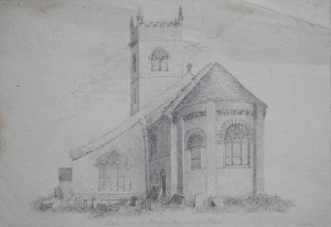 East End of St Mary's Church, Birkin drawing by unknown artist 1842