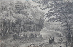 The canal near Wither, Leeds drawing by unknown artist @1850