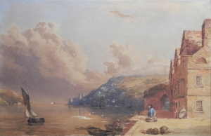 Bayard's Cove, Dartmouth Harbour in the manner of Samuel Prout @ 1860