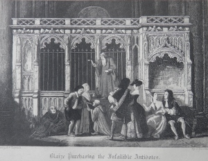 Blaize Purchasing the Infallible Antidotes - etching by John Franklin @ 1841