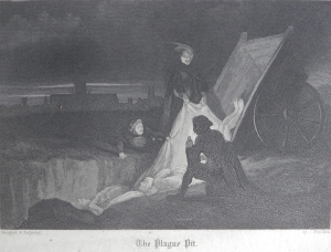 The Plague Pit - etched by John Franklin @ 1841