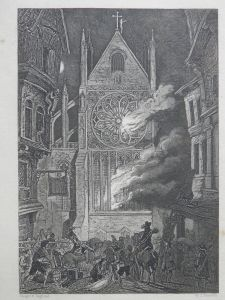 The Burning of St. Pauls etched by John Franklin @ 1841