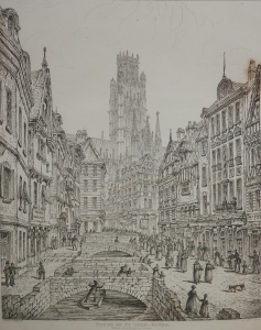 Tower of St Ouen, Rouen etched by John Coney @ 1843
