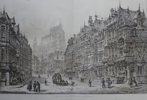 Rue de Puit a la Chaine, Abbeville etched by John Coney @ 1843