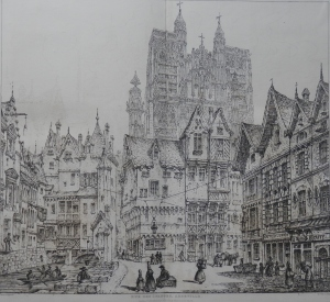 Rue des Changes, Abbeville etched by John Coney @ 1843