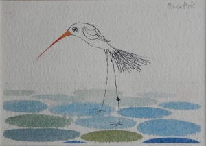 Wading Bird ink and watercolour by Claus Hoie @ 1980