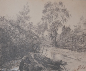 Barkers Creek, Harcourt pencil sketch by Edward Leslie Badham @ 1903