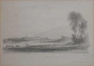 Perth and the River Tay pencil sketch by John Wilson Ewbank @ 1825