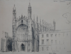 King's College pen and wash drawing by Deirdre James