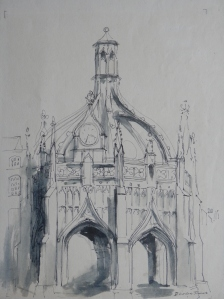 Chichester Market Cross pen and wash drawing by Deirdre James