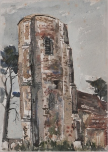 All Saint's Church, Ramsholt, Suffolk watercolour by John Knapp Fisher @ 1963