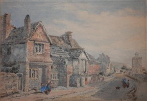 Anne of Cleves' House, Southover, Lewes, watercolour by Octavia Dodson? @ 1880