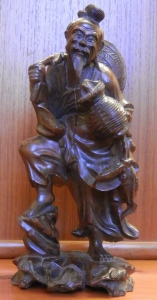 Peasant Fisherman carved rosewood - Chinese