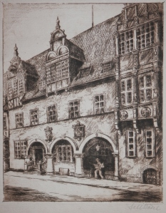Celle Altes Rathaus etching by Fritz Botel @ 1920