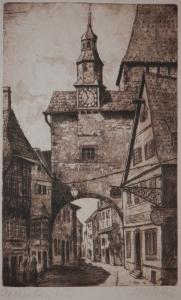 Roeder Gate, Rothenburg ob der Tauber etching by Fritz Botel @ 1920