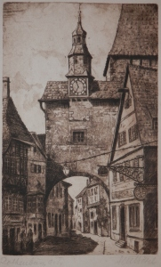 Roeder Gate, Rothenburg ob der Tauber etching by Fritz Botel @ 1920