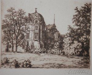 Celle Castle etching by Fritz Botel @ 1920
