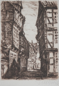 Kalandgasse, Celle etching by Fritz Botel @ 1920