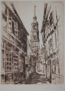 St Mary's Church from Kalandgasse etching by Fritz Botel @ 1920