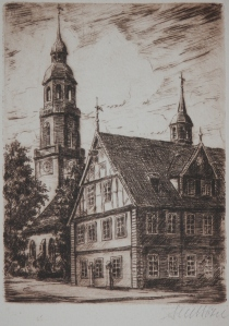 St Mary's Curch and Town Hall etching by Fritz Botel @ 1920