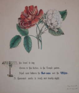 Red and White Rose from The Flowers of Shakespeare by Jane Elizabeth Giraud @ 1845
