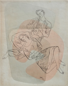 Piper with Reclining Woman drawing with wash by William Stobbs @ 1942