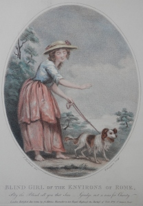 Blind Girl of the Environs of Rome - stipple engraving by Thomas Gaugain after James Northcote @ 1794