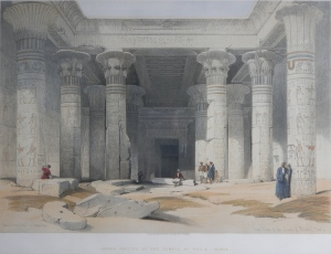 Grand Pportico of the Temple of Philae, Nubia lithograph after David Roberts by Louis Haghe @ 1847