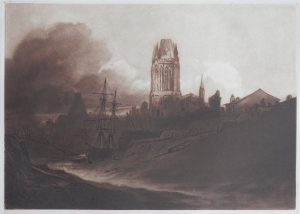 Dawn, St Mary, Redcliffe, bristol etching and aquatint by Sir Frank Short