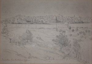 Jerusalem from the Mount of Olives - graphite drawing by unknown artist @ 1820?