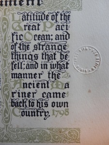 The Rime of the Ancient Mariner - embossed review stamp