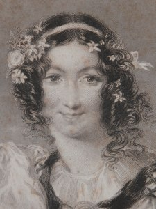 Mirth - stipple engraving by Francis Holl @ 1844 close-up