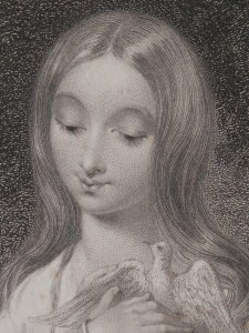 Simplicity - stipple engraving by Francis Holl @ 1844 close-up