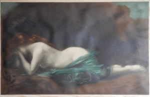 Weeping Nymph in Blue Cloth - lithograph by J A Hanriot after J J Henner @ 1900