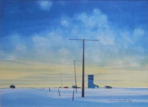 A Prairie Dawn watercolour by Robert Newton Hurley @ 1958