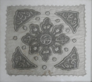 Handkerchief Token by unknown lady - with human hair @ 19th century